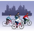 people young riding bycicle city background vector image vector image
