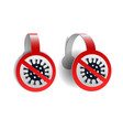 red wobblers with coronavirus icon with vector image