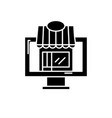 remote trading black icon sign on isolated vector image vector image