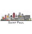 saint paul minnesota city skyline with gray vector image vector image