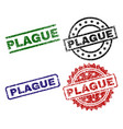 scratched textured plague stamp seals vector image vector image