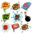set comic style mega sale speech bubbles vector image