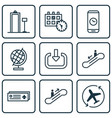 set of 9 traveling icons includes aircraft arrow vector image