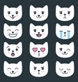 set of cat faces with different emotions vector image vector image