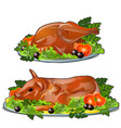 set of fresh grilled chicken and pork with vector image