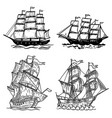 set sea ship isolated on white background vector image