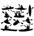 set silhouettes people swimming in a canoe vector image