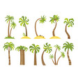 set simple palm trees flat cartoon vector image