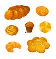 set sweet bread icons vector image