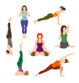 silhouettes girl practicing yoga exercises vector image