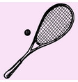 squash racket and ball vector image vector image