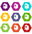 street postbox icons set 9 vector image