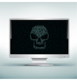 white monitor with skull code vector image vector image