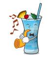 with trumpet blue hawaii mascot cartoon vector image vector image