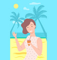 woman relaxing on vacation sunshine on beach vector image