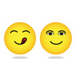 yellow yummy smiley emoticon hungry face emoji vector image
