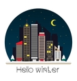 City at night in flat style vector image