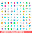 100 science research icons set cartoon style vector image vector image