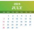 2019 calendar template - july vector image vector image