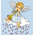 angel with pipe on cloud vector image vector image