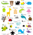 Animal zoo alphabet Cute cartoon character set vector image vector image
