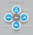 auto icons set collection of van fixing car and vector image vector image