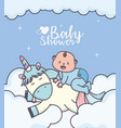 bashower little boy on cute unicorn clouds vector image