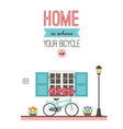 bicycle in front house entrance print for vector image