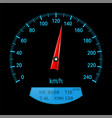 black speedometer with blue scale vector image vector image