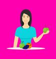 cartoon character person eating raw fruits vector image vector image