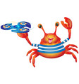 cartoon cute cheerful crab with spinner vector image vector image