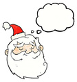 cartoon santa claus face with thought bubble vector image vector image
