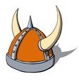 Cartoon viking helmet with horns vector image vector image