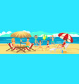 children playing on beach active rest of family vector image vector image