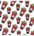 color delicious snack popcorn food background vector image