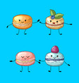colored hand drawn macaroons with faces vector image
