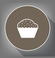 cupcake sign white icon on brown circle vector image