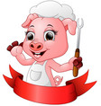 cute cartoon chef pig holding a fork vector image vector image