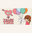 cute little girl receiving message balloons be my vector image