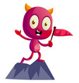 devil on mountain with flag on white background vector image vector image
