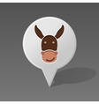 Donkey pin map icon Animal head vector image vector image