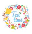 Elegant tea time floral wreath vector image vector image