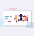 escape room landing page template tiny characters vector image vector image