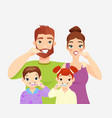 family brushing teeth flat vector image vector image