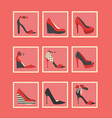 feminine red high heel shoes square icons set vector image vector image