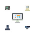 flat icon laptop set of technology processor pc vector image vector image