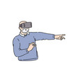 flat senior man in virtual reality headset vector image