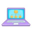 Folders on laptop screen icon cartoon style vector image vector image