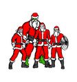 four people in santa claus costume vector image vector image