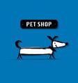 funny dog pet shop logo for your design vector image vector image